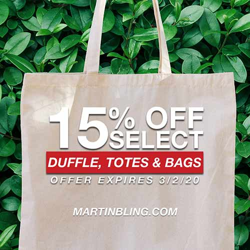 15% off select duffles, totes, and bags. Expires March 2, 2020.  At martingling.com.